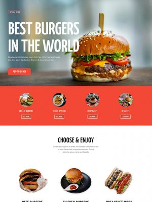 Screen shot of website design for a burger restaurant