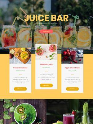 Screen shot of website design for a juice bar