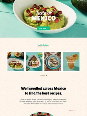 Screen shot of website design for a mexican restaurant