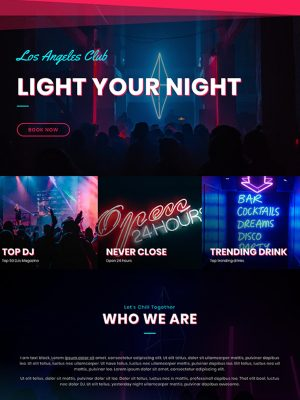 Screen shot of website design for a nightclub