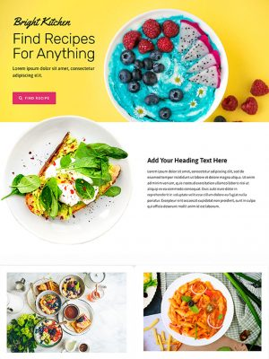 Screen shot of recipe website design
