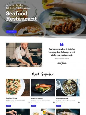 Screen shot of website design for a seafood restaurant