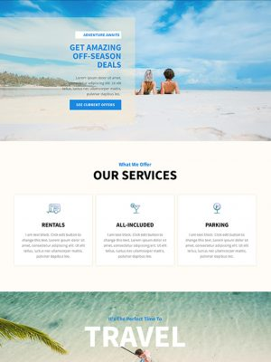 Screen shot of website design for a travel agency