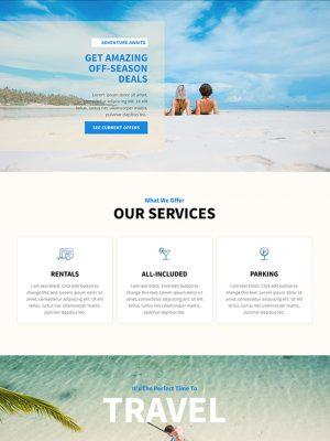 Screen shot of website design for a travel agency