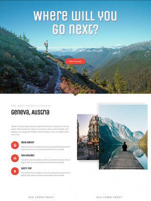 Screen shot of website design for a travel company